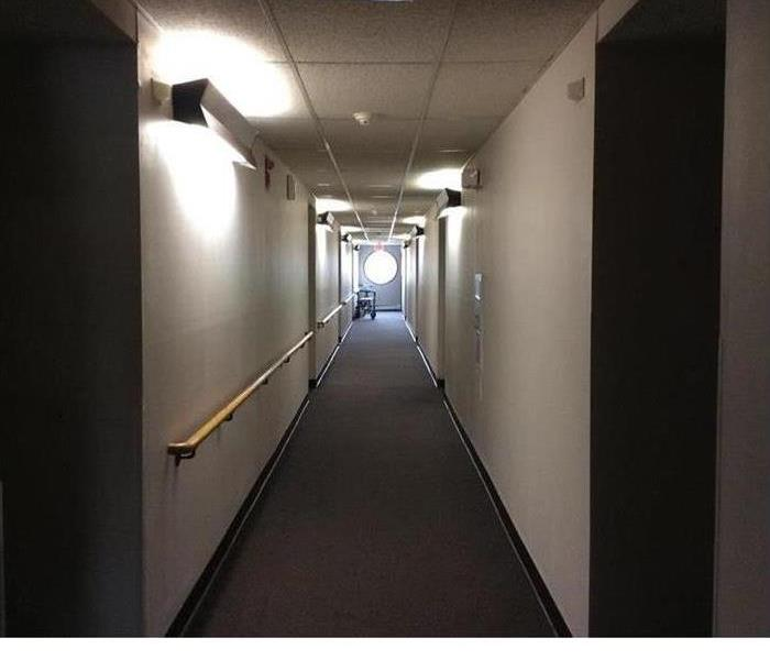 hallway in an apartment complex