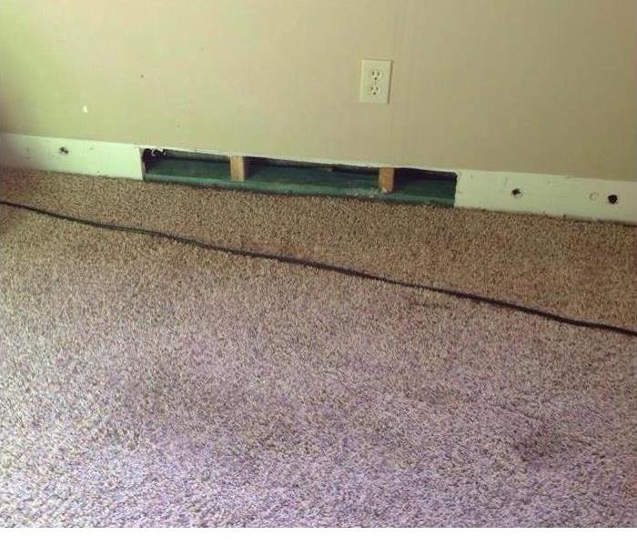 room with baseboards removed