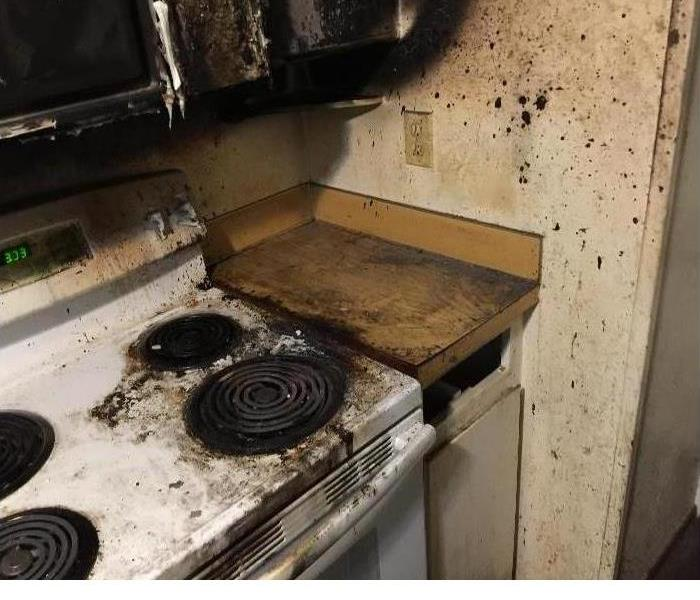 A fire damaged kitchen